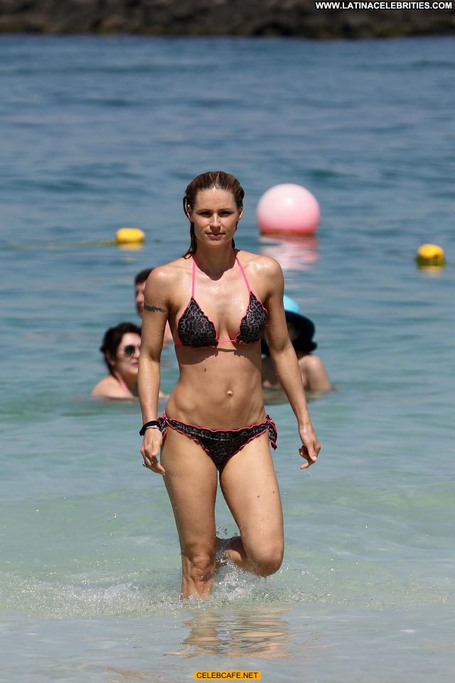 Michelle Hunziker No Source Posing Hot Beach Celebrity Bikini Babe