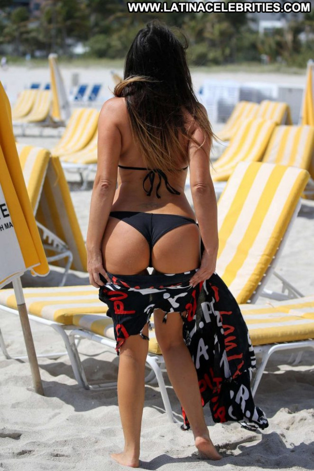 Claudia Romani Miami Beach Black Paparazzi Bikini Beach Babe